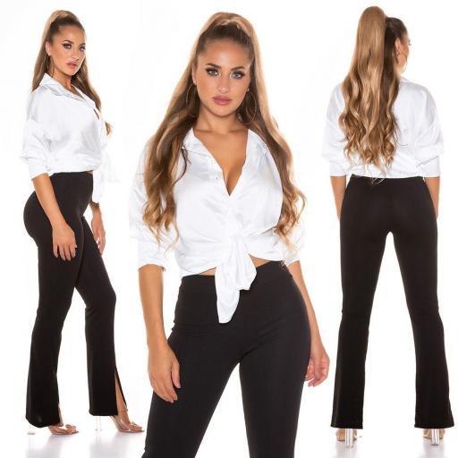 Blusa de moda brillante blanco