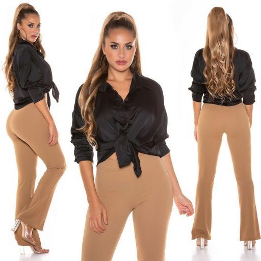 Blusa de moda brillante negro