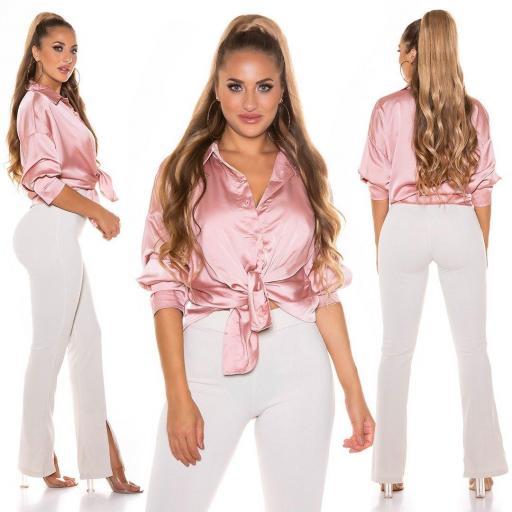 Blusa de moda brillante rosa
