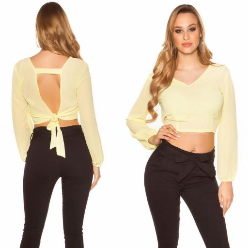Blusa crop de color amarillo [0]
