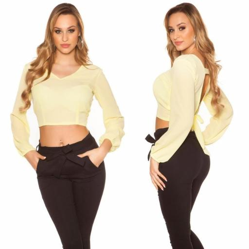 Blusa crop de color amarillo [2]