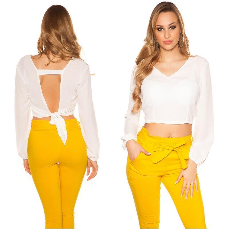 Blusa crop de color blanco