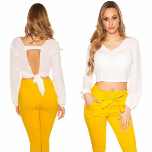 Blusa crop de color blanco