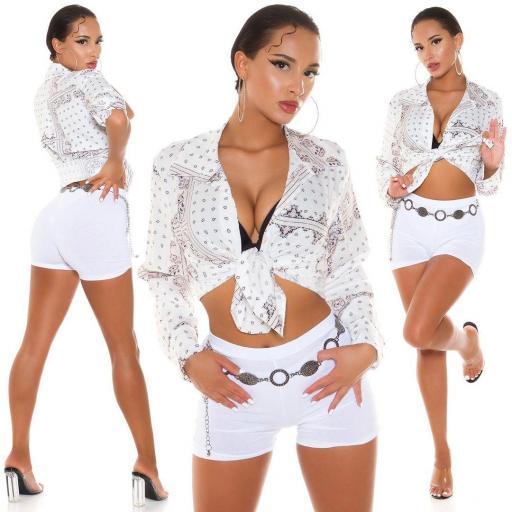 Blusa corta elegante blanca estampada