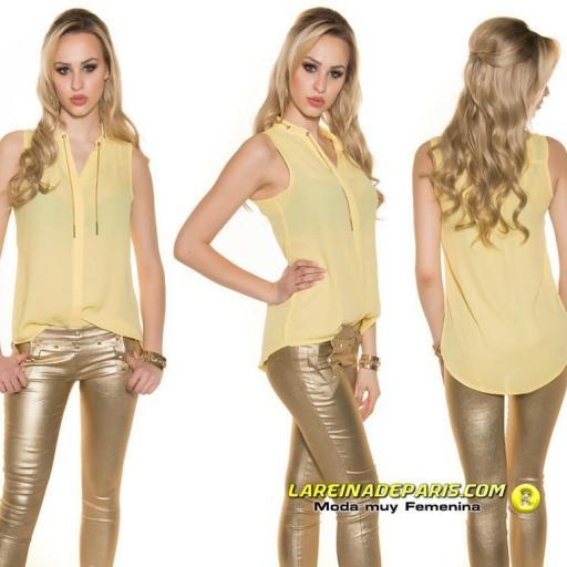 Blusa de gasa sin mangas amarilla