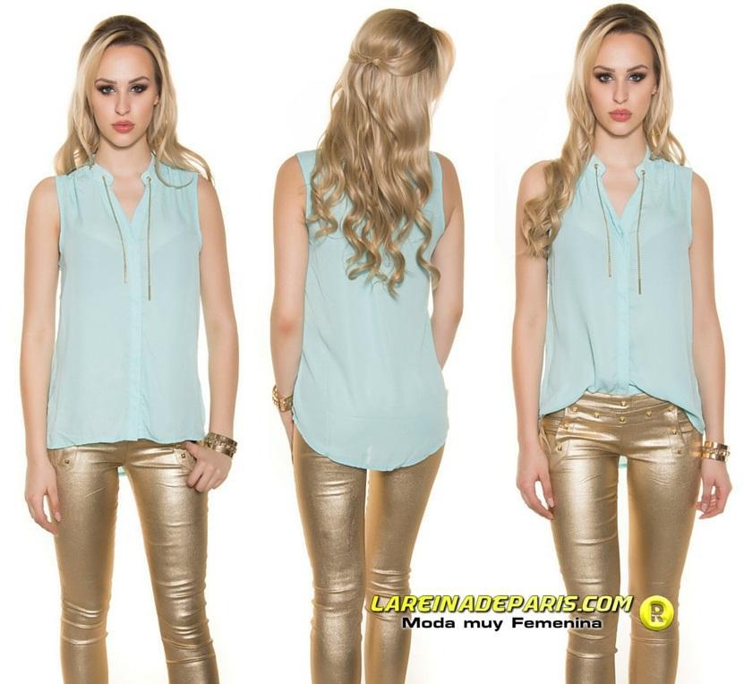 Blusa menta de gasa moda súper femenina