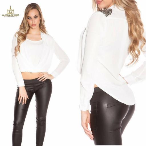 Blusa blanca diseño de estilo  [3]