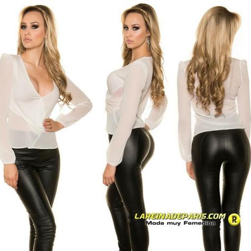 Moda femenina blusa blanca de gasa [3]