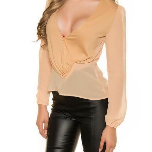 Blusa femenina champagne gasa elegante [2]