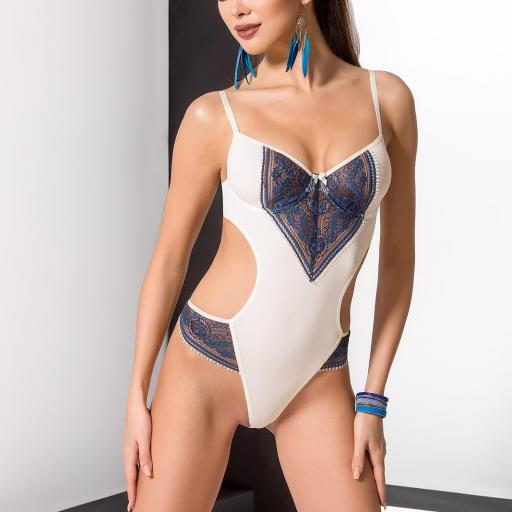 Body crema encaje azul