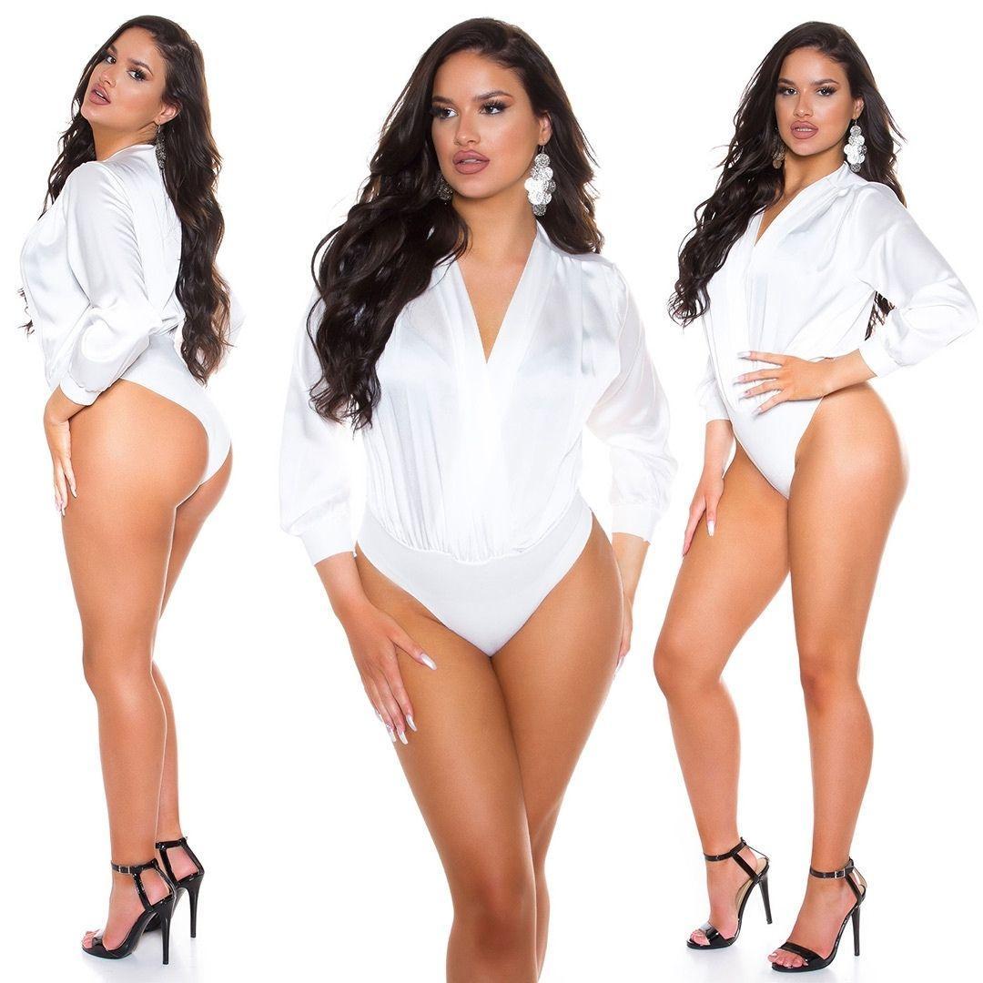 Body satinado de moda blanco
