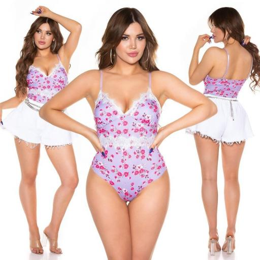 Body estampado de flores lila