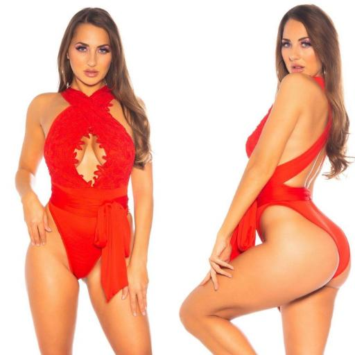 Body escote profundo rojo