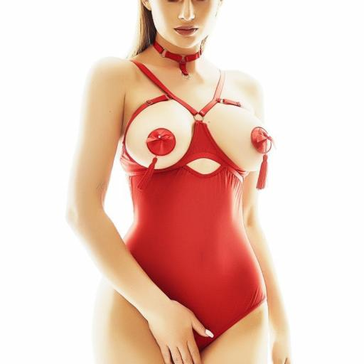 Body rojo abierto malla fina