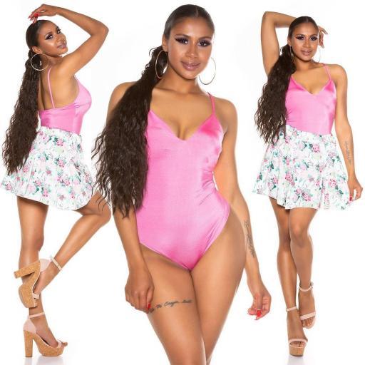 Body brillante satinado rosa