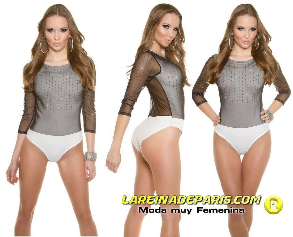 Body blanco con velo negro transparente