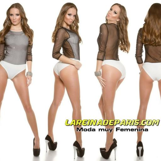 Body blanco con velo negro transparente  [3]
