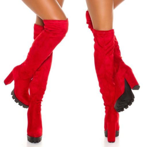 Botas de plataforma ante rojo