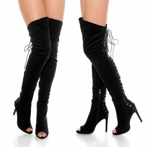 Botas de caña alta ante negro [1]
