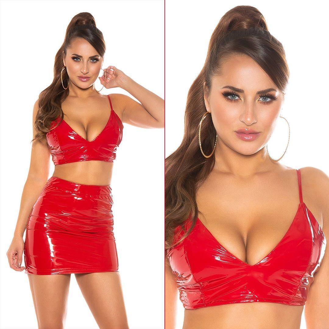 Bustier latex rojo