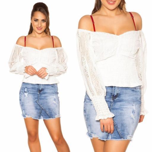 Camisa con encaje blanco off shoulder  [3]