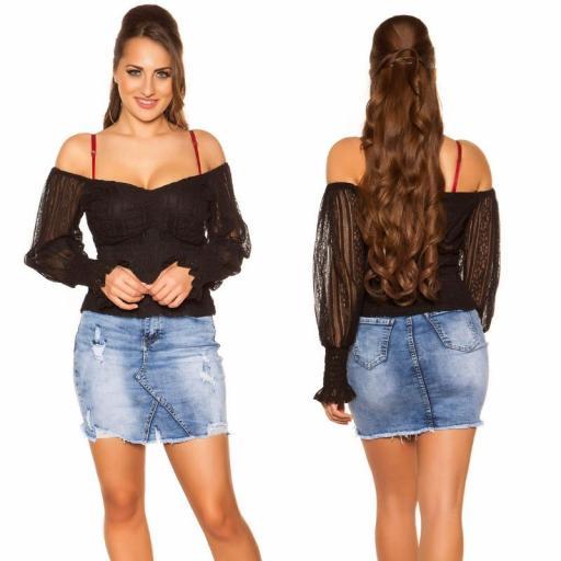 Camisa con encaje negro off shoulder [1]