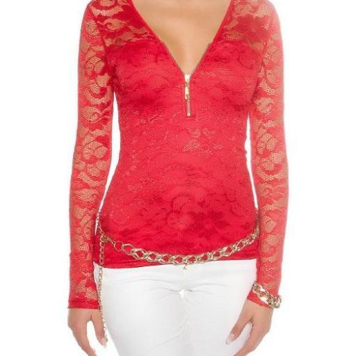 Camisa roja con encaje con cremallera [1]