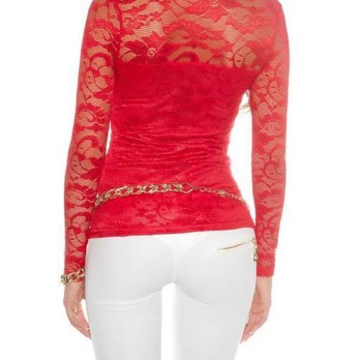 Camisa roja con encaje con cremallera [2]