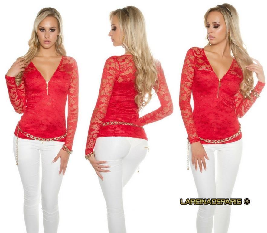 Camisa roja con encaje con cremallera