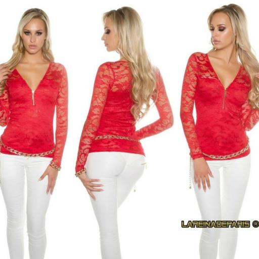 Camisa roja con encaje con cremallera [0]