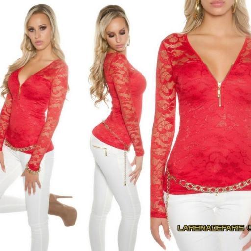 Camisa roja con encaje con cremallera [3]