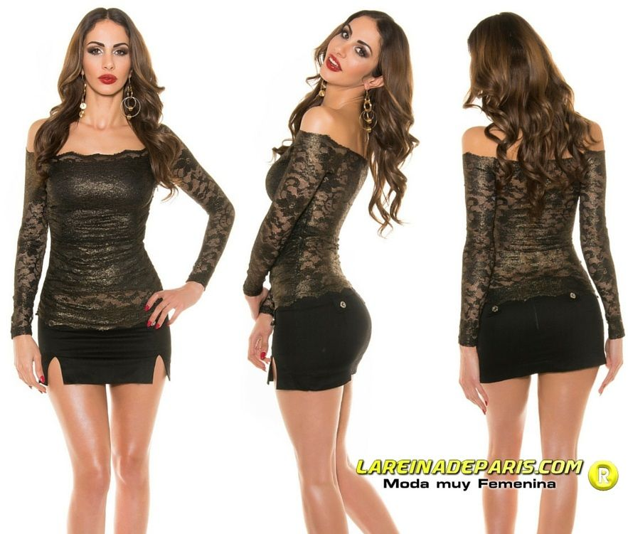Camisa negra mujer de encaje