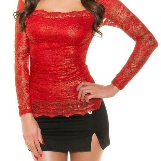 Camisa roja de encaje moda mujer  [1]