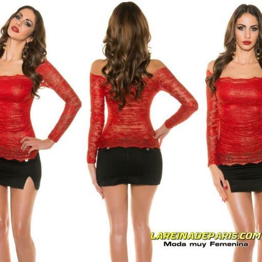 Camisa roja de encaje moda mujer  [3]