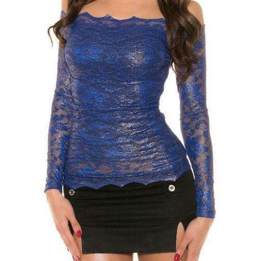 Camisa azul de encaje atractivo  [2]