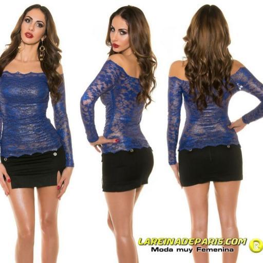 Camisa azul de encaje atractivo  [3]
