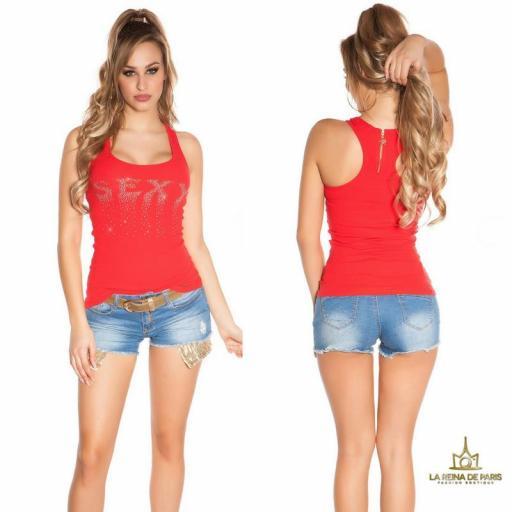 Camiseta sexy con cremallera rojo