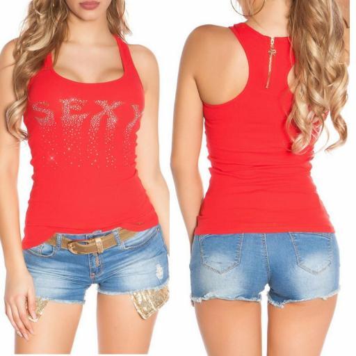 Camiseta sexy con cremallera rojo [3]