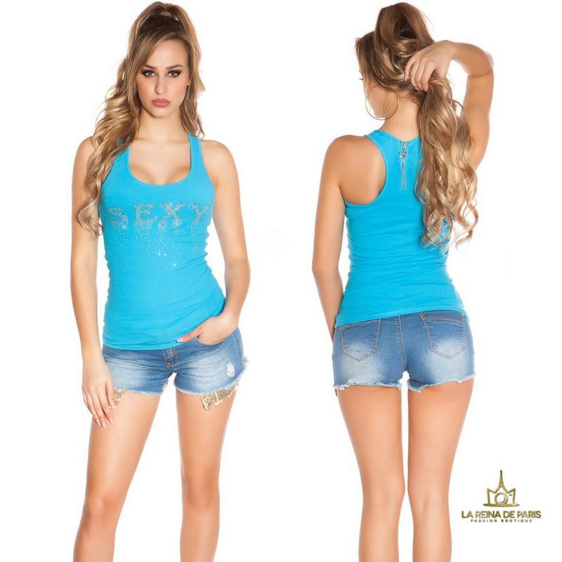 Camiseta sexy con cremallera turquesa