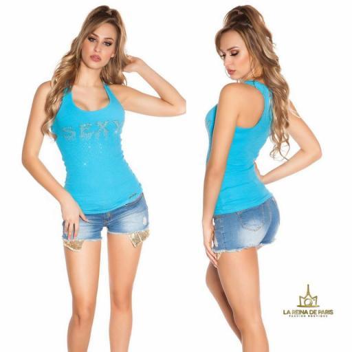 Camiseta sexy con cremallera turquesa [1]