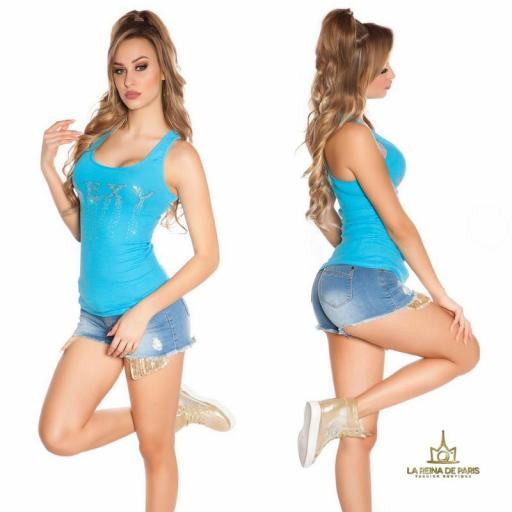 Camiseta sexy con cremallera turquesa [2]