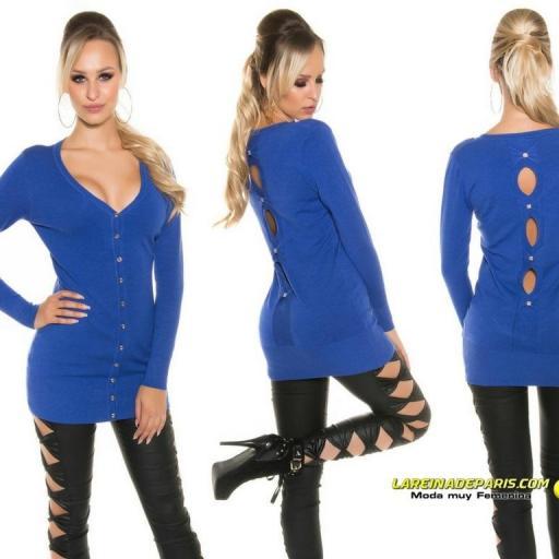 Cardigan azul moda mujer entretiempo