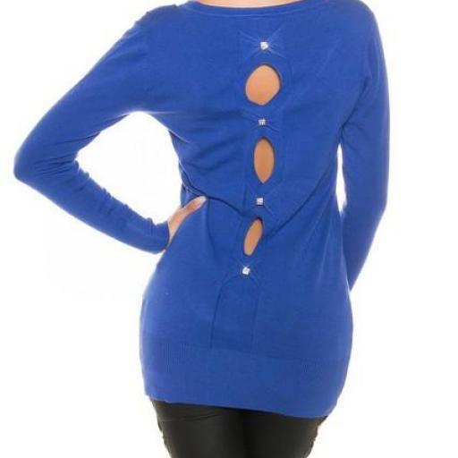 Cardigan azul moda mujer entretiempo [2]