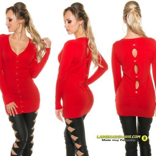 Cárdigan rojo atractivo cuello en V