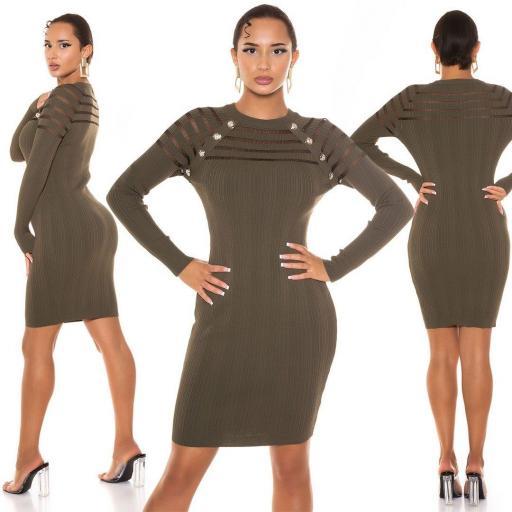 Vestido de punto con transparencia khaki