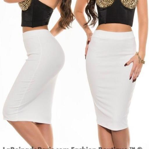Falda lápiz cintura alta moda blanco  [1]