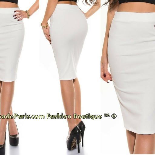 Falda lápiz cintura alta moda blanco  [2]