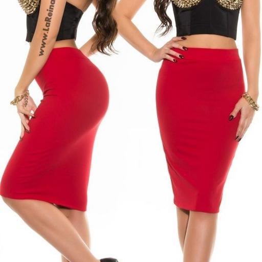 Falda roja lápiz de talle alto de moda [1]