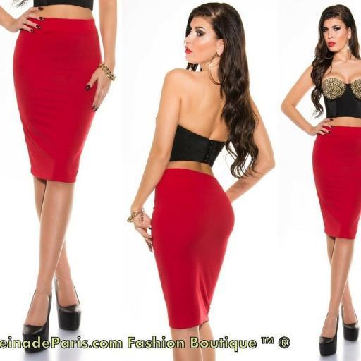 Falda roja lápiz de talle alto de moda [2]