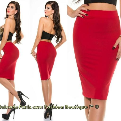 Falda roja lápiz de talle alto de moda [3]